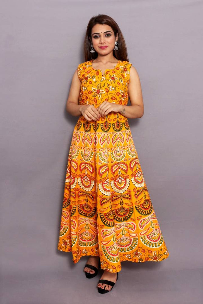 Stylish Cotton Golden Jaipuri Print Anarkali Kurta - pricegrill.com