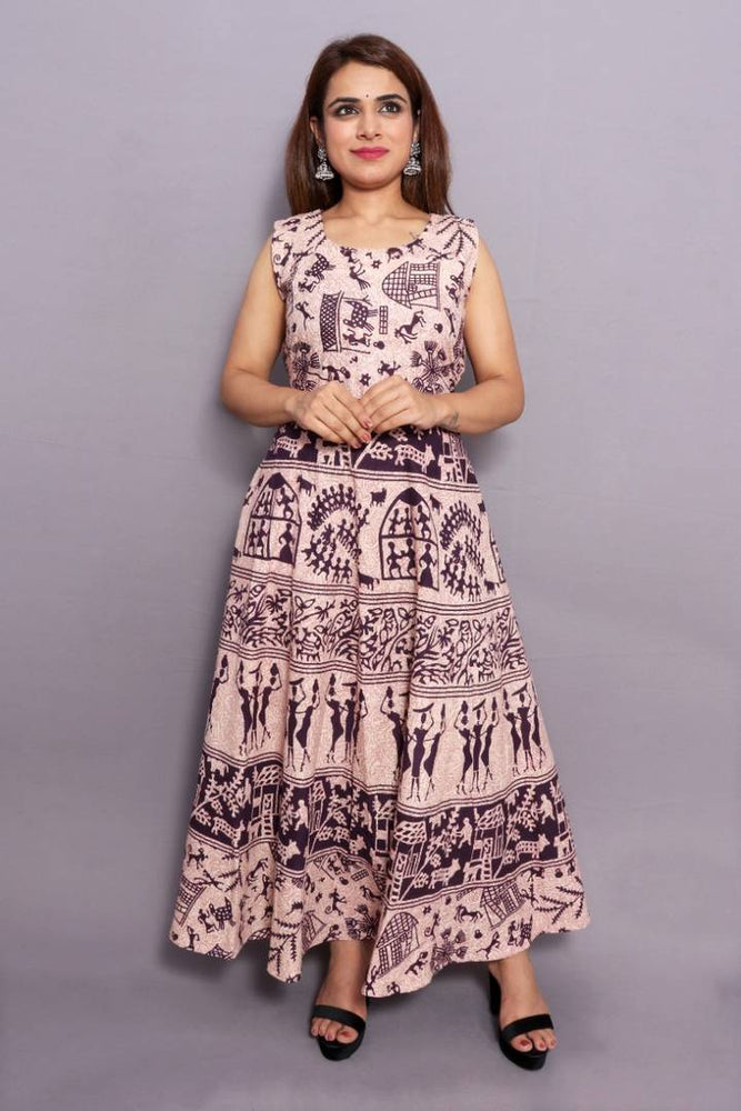 Stylish Cotton Multicoloured Jaipuri Print Anarkali Kurta