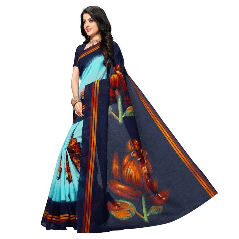 Women's Beautiful Art Silk Printed Saree with Blouse piece - pricegrill.com
