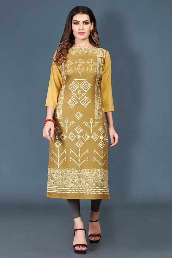 Stylish Crepe Mustard Printed 3/4 Sleeves Kurta For Women