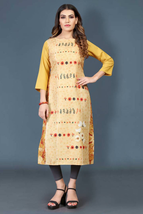 Stylish Crepe Yellow Printed 3/4 Sleeves Kurta For Women - pricegrill.com