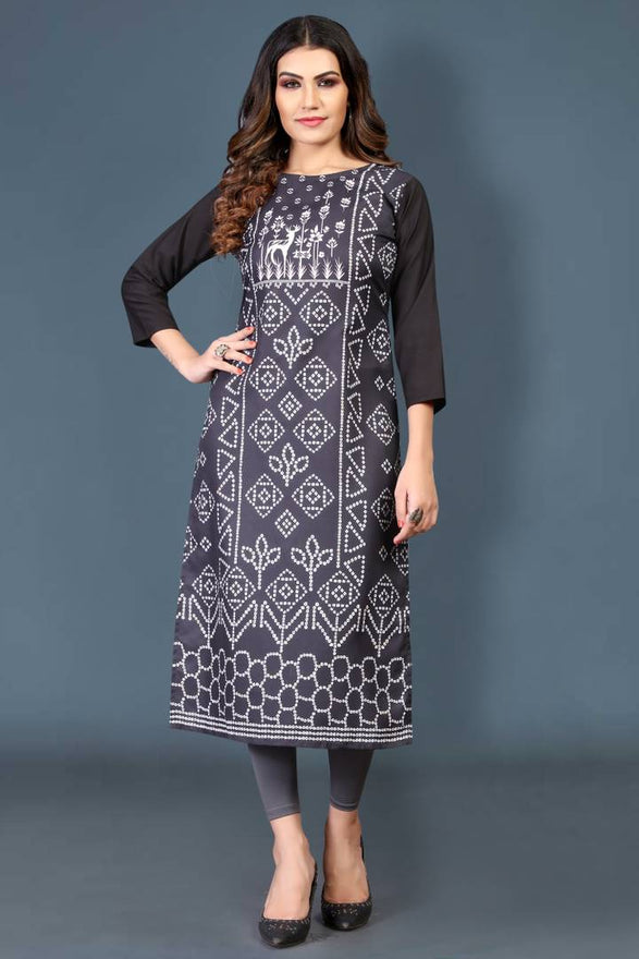 Stylish Crepe Black Printed 3/4 Sleeves Kurta For Women