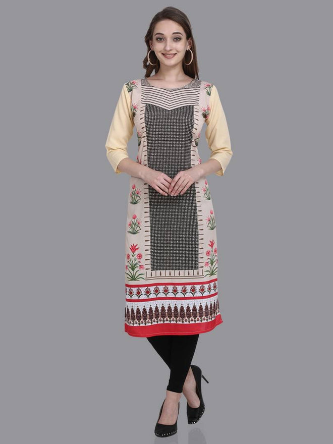 Stylish Crepe Multicoloured Printed 3/4 Sleeves Kurta For Women - pricegrill.com