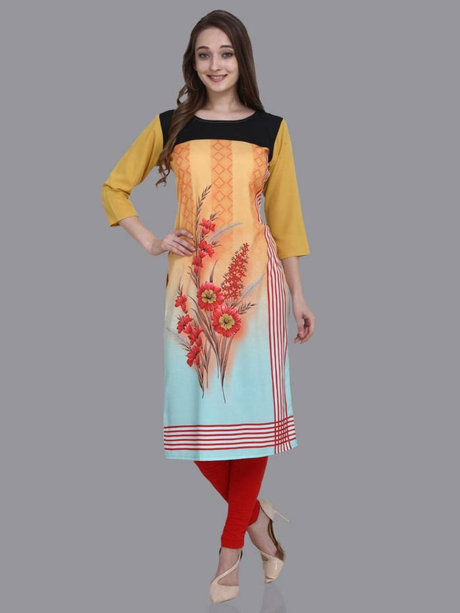 Stylish Crepe Multicoloured Printed 3/4 Sleeves Kurta For Women