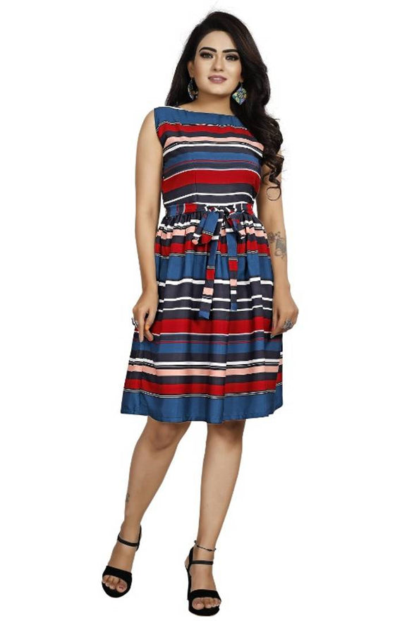 Stylish Multicoloured Crepe Digital Printed Dress For Women - pricegrill.com
