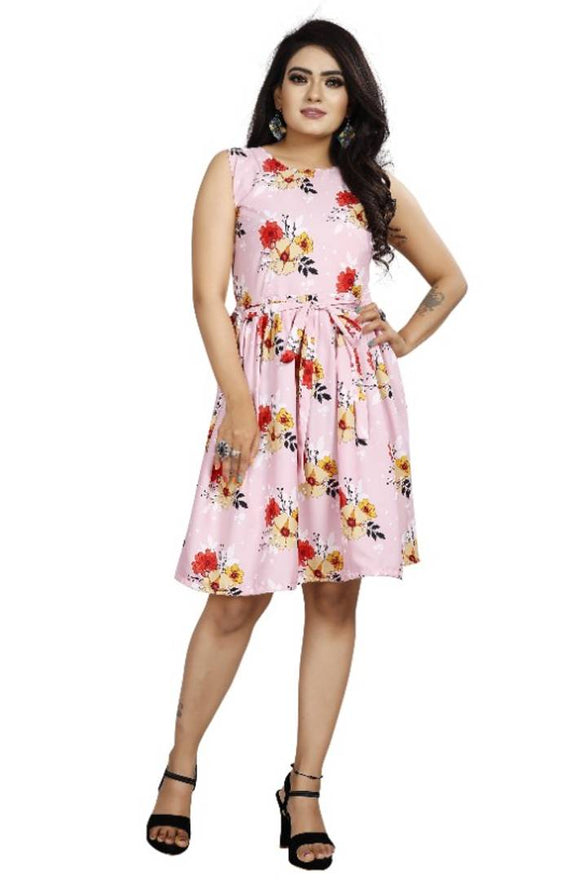 Stylish Pink Crepe Digital Printed Dress For Women