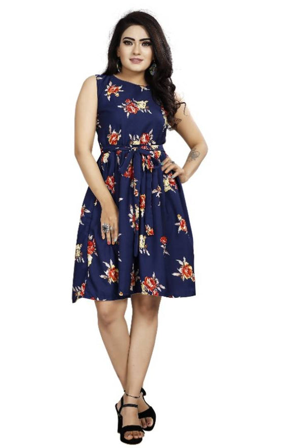 Stylish Navy Blue Crepe Digital Printed Dress For Women - pricegrill.com