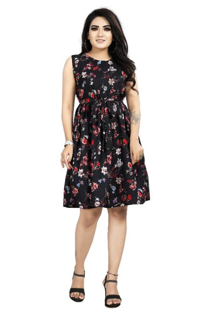 Stylish Black Crepe Digital Printed Dress For Women