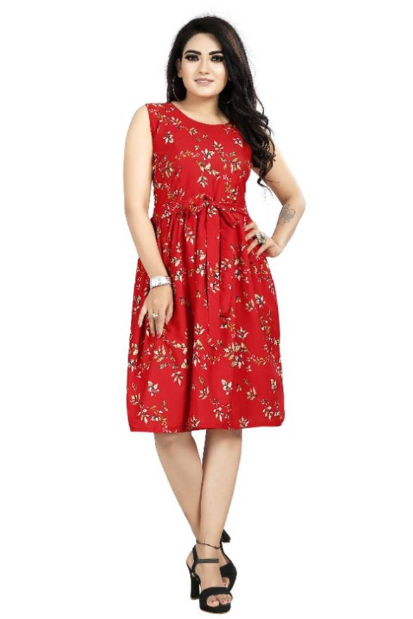 Stylish Red Crepe Digital Printed Dress For Women - pricegrill.com