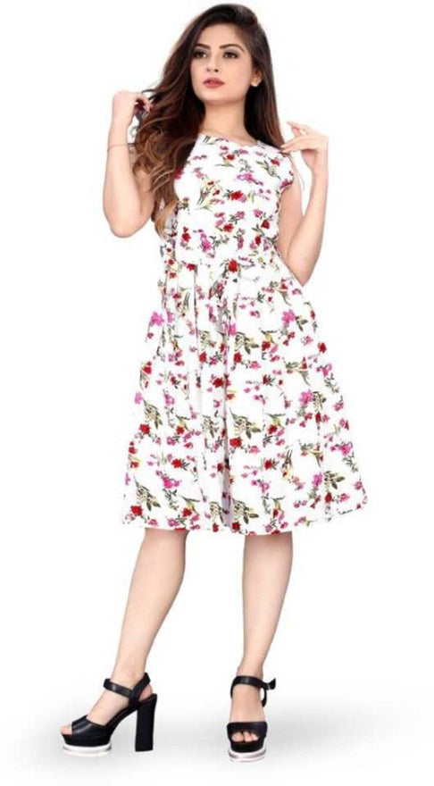 Stylish White Crepe Digital Printed Dress For Women