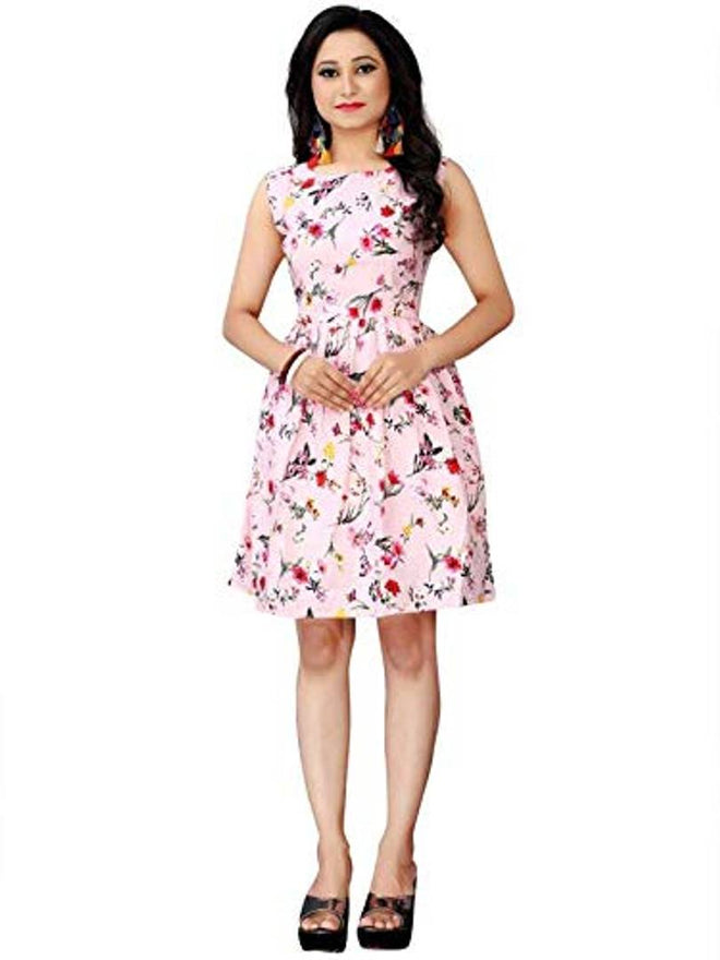 Women's Knee Length Printed White Crepe A-Line Dress
