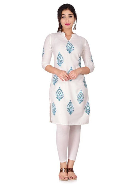 Stylish Rayon Block Printed Straight Kurti For Women