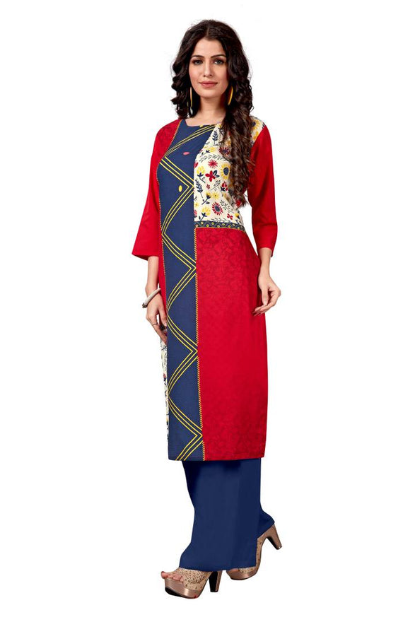 Women'S American Crepe Digital Print Red Colour Kurta