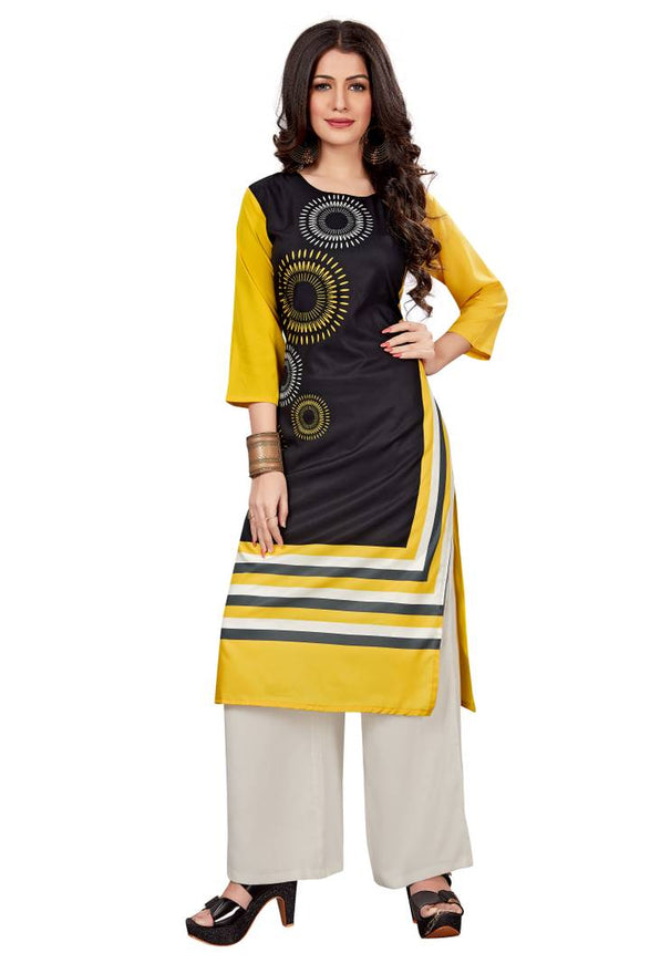 Women'S American Crepe Digital Print Yellow Colour Kurta