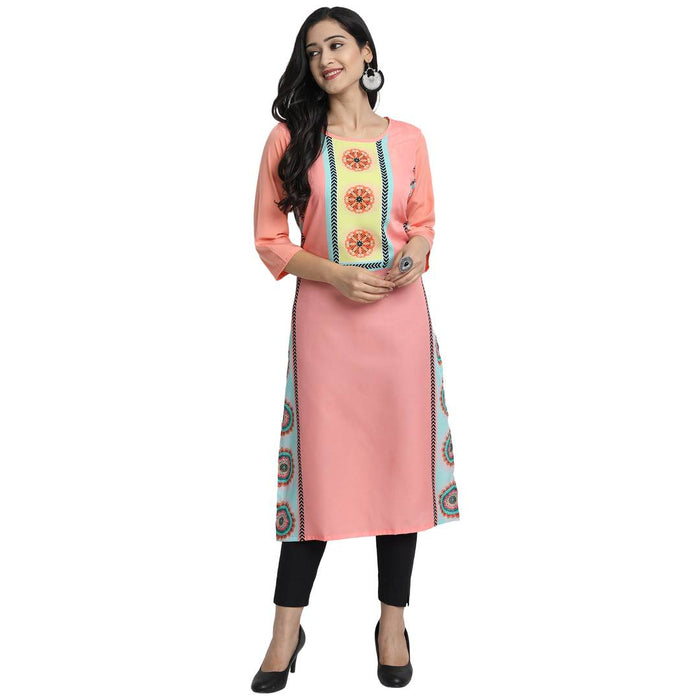 Women'S American Crepe Digital Print  Peach Colour Kurta