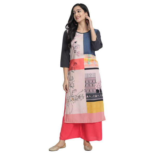 Women'S American Crepe Digital Print  Black  Colour Kurta