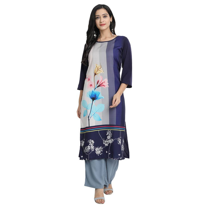 Women'S American Crepe Digital Print Navy Blue Colour Kurta