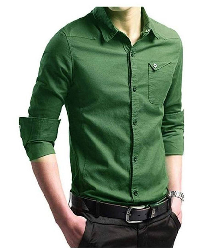 Men's Cotton Solid Long Sleeves Regular Fit Casual Shirt