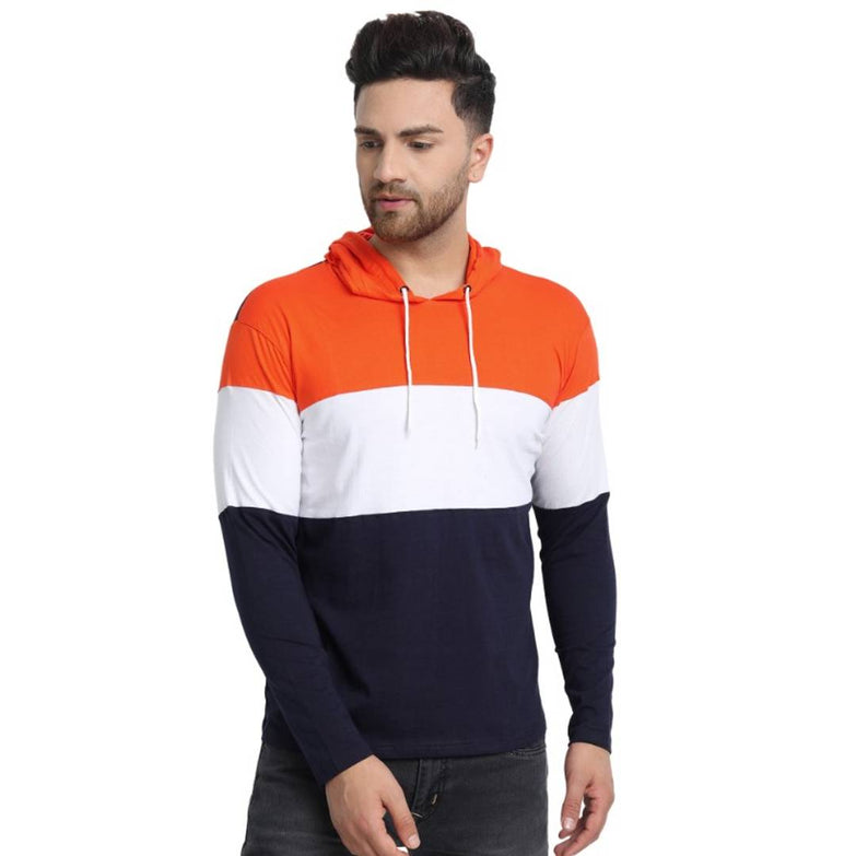 Multicoloured Colourblocked Cotton Hooded T-Shirt