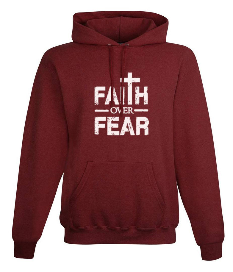 Unisex Regular Fit Faith Over Fear Printed Cotton Hoodie