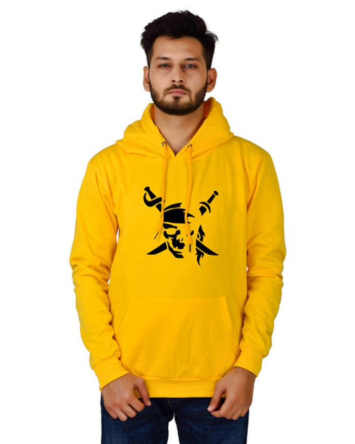 Unisex Regular Fit Pirates Printed Cotton Hoodie