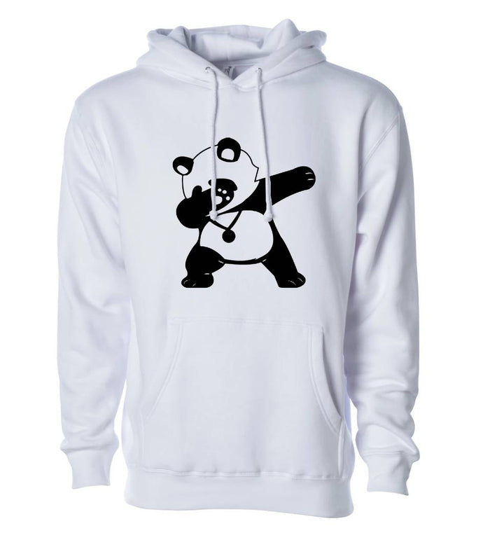 Men's White Cotton Blend Printed Long Sleeves Regular Hoodies