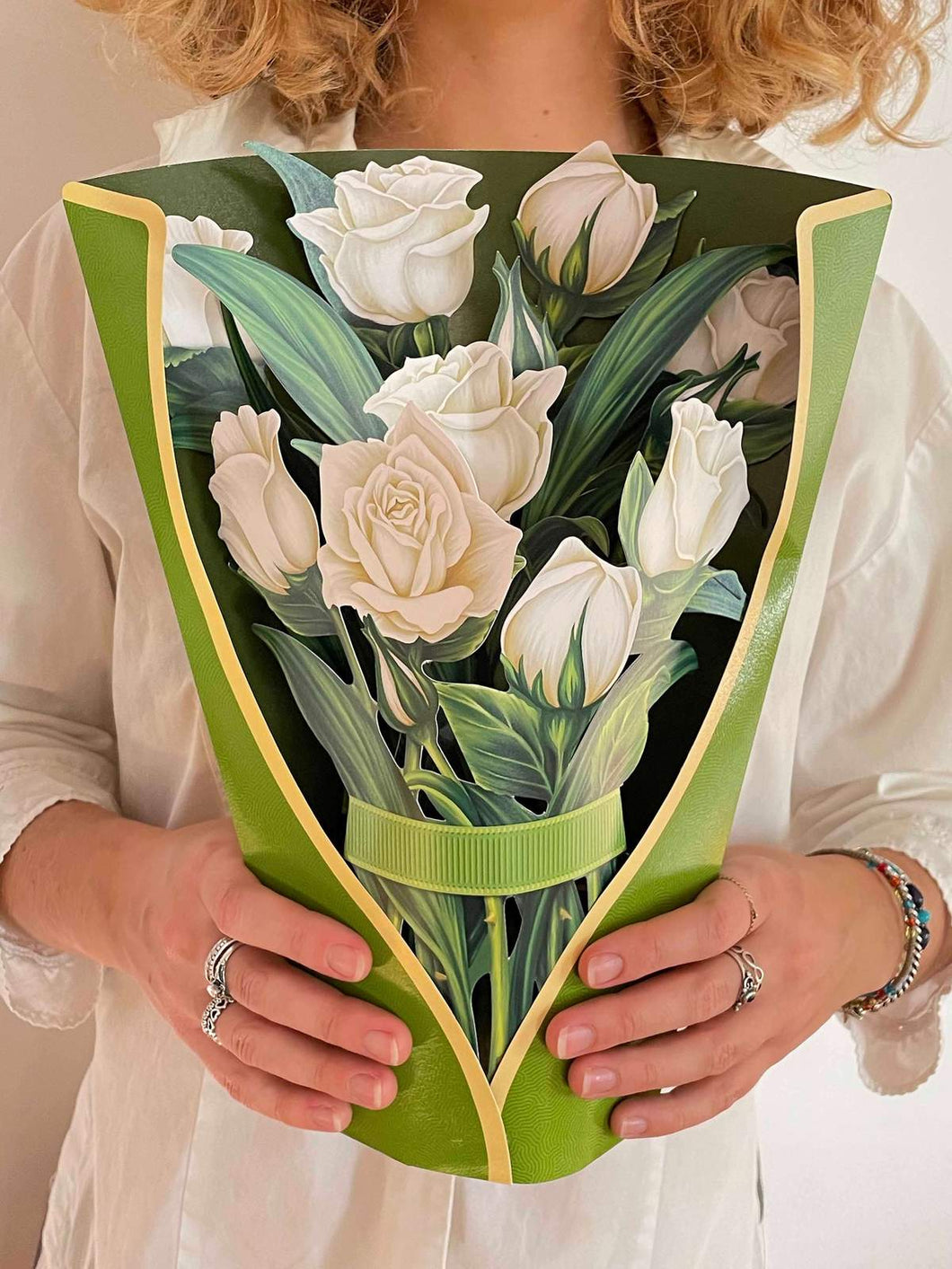 Paper Flower White Roses Bouquet