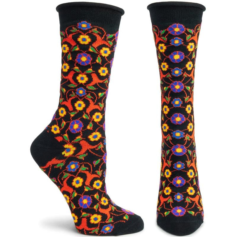 Ozone Floral Fresco Socks, Black