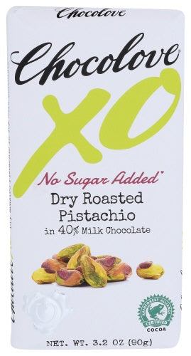 XO Milk Chocolate Roasted Pistachio Bar, No Sugar Added
