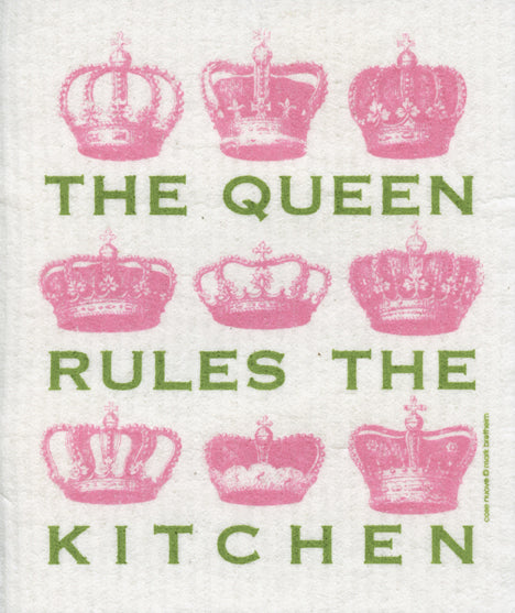 The Queen Rules the Kitchen Swedish Cellulose Dishcloth, Pink