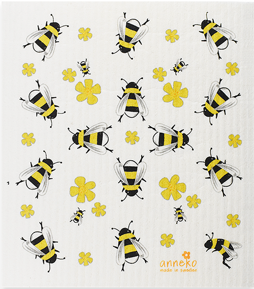 Bees with Yellow Flowers Swedish Cellulose Dishcloth