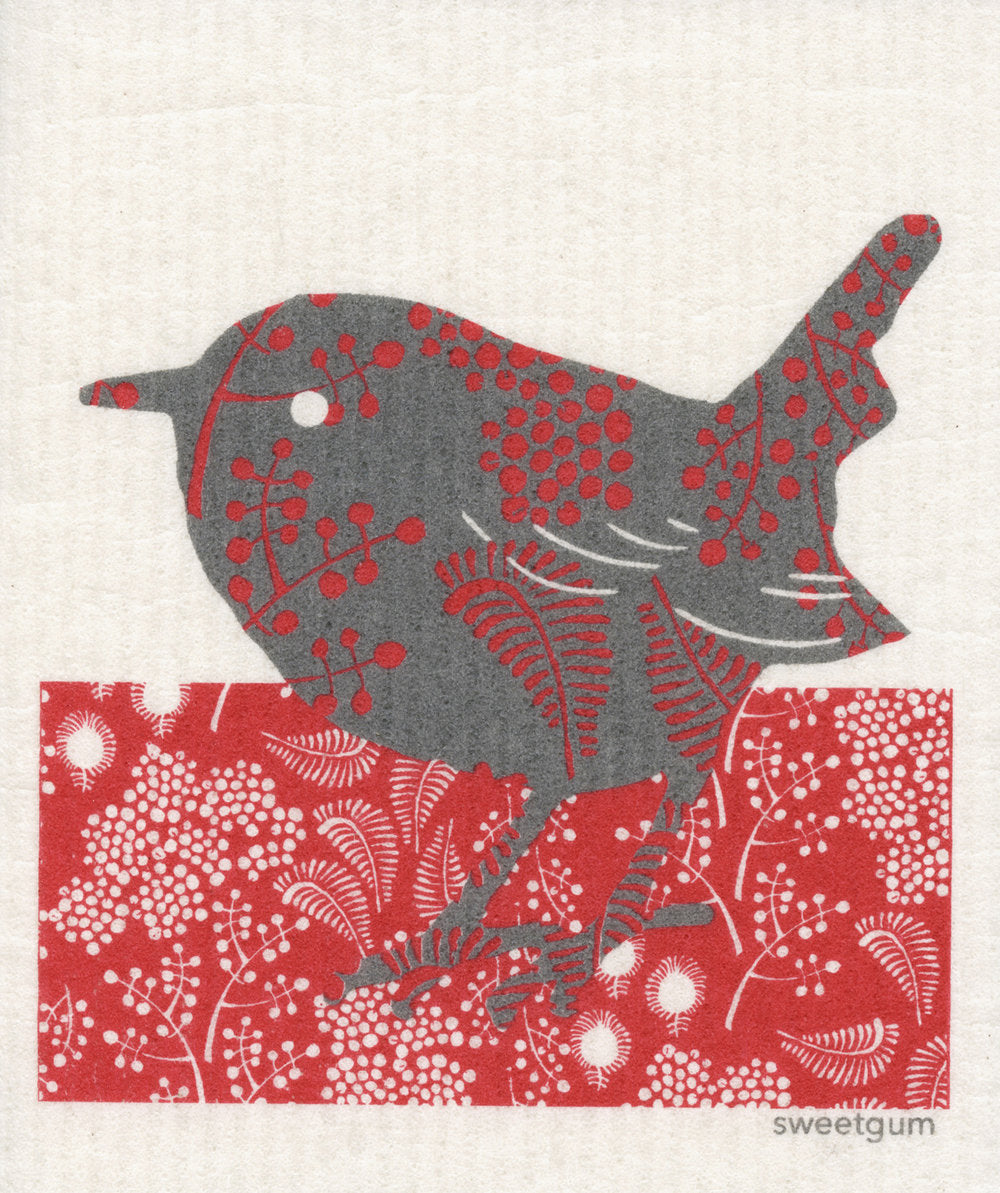 Red & Grey Bird Swedish Cellulose Dishcloth