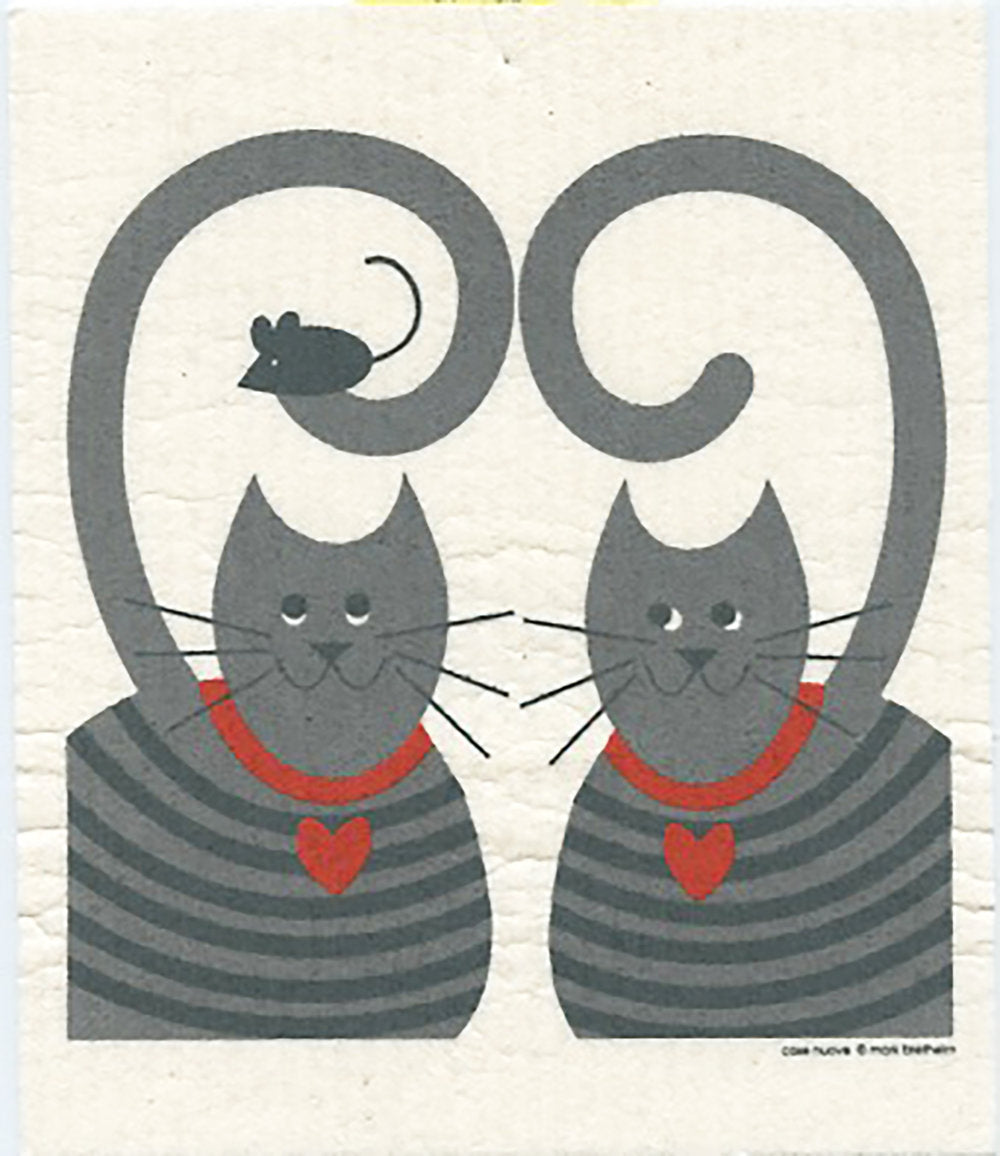 Two Cats with a Mouse Swedish Cellulose Dishcloth