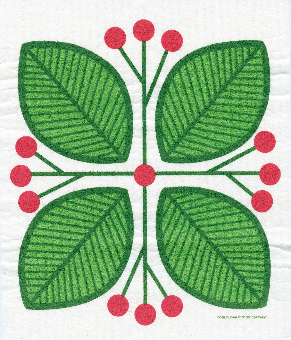 Green Leaves and Berries Swedish Cellulose Dishcloth