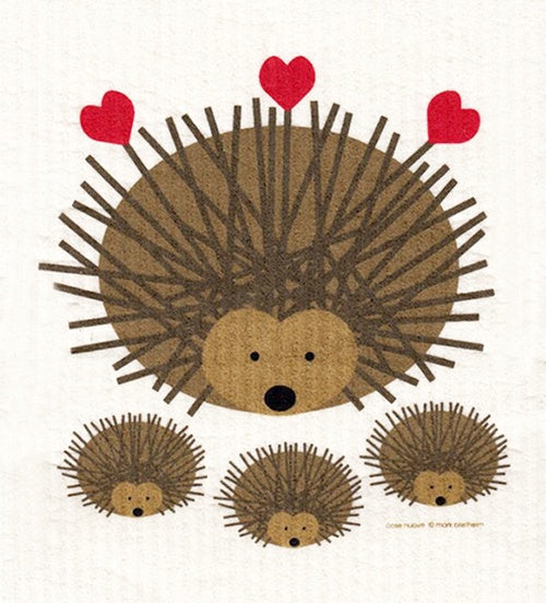 Mama Hedgehog with Three Baby Hedgehogs Swedish Cellulose Dishcloth