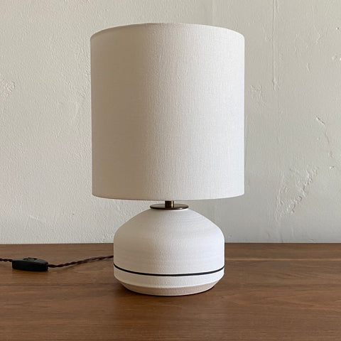 Agnes Lamp - Dry Matte White with Iron Stripe