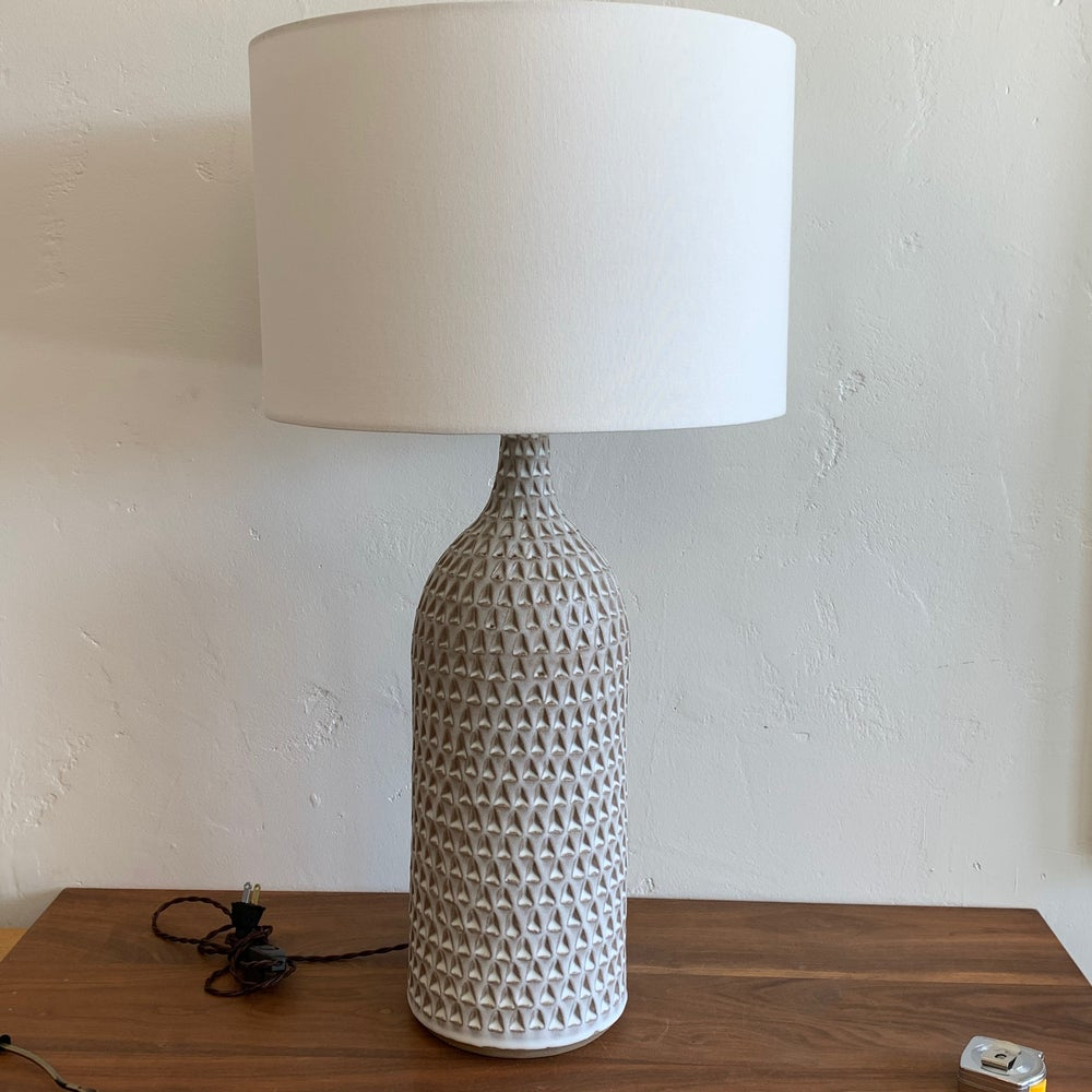 XXL Birch Hand Carved Bottle Lamp