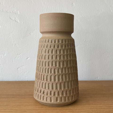 Large Sand Carved Arch Vase