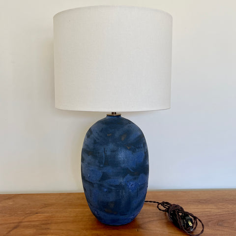 Dry Matte Blue Oval Lamp