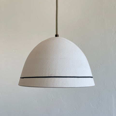Matte White Dome Pendant with Iron Stripe