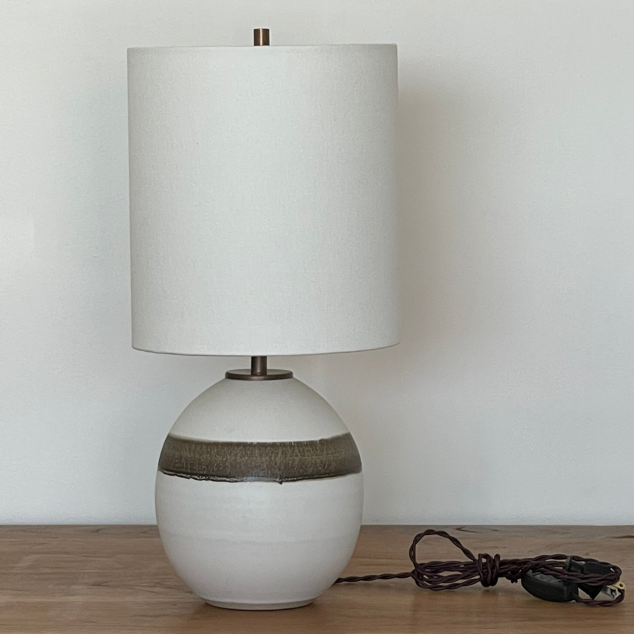 Orb Lamp - Birch with Bronze Stripe