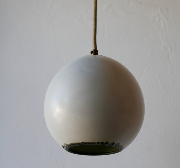 Satin White Orb Pendant Lamp with Iron Stripe