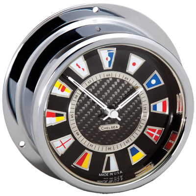 Carbon Fiber Flag Clock and Barometer