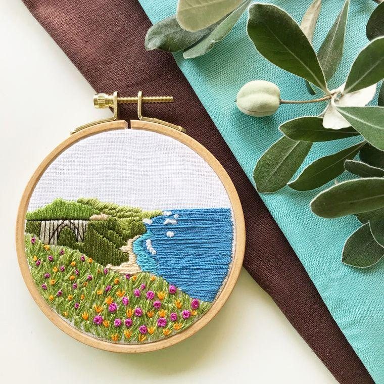 Big Sur Beginner Embroidery Kit - Fire + Mineral