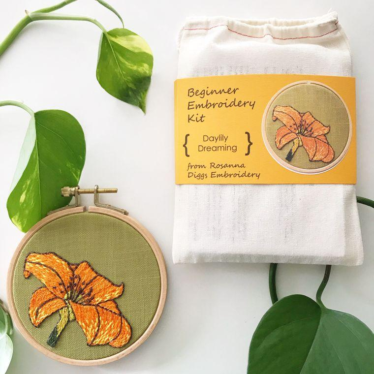Daylily Beginner DIY Embroidery Kit, Complete Kit - Fire + Mineral
