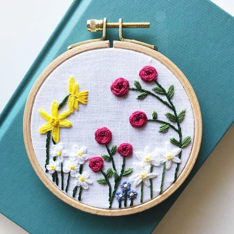 Embroidery Kit, Family Flower Garden DIY Embroidery, Choose Your Design Complete Kit - Fire + Mineral