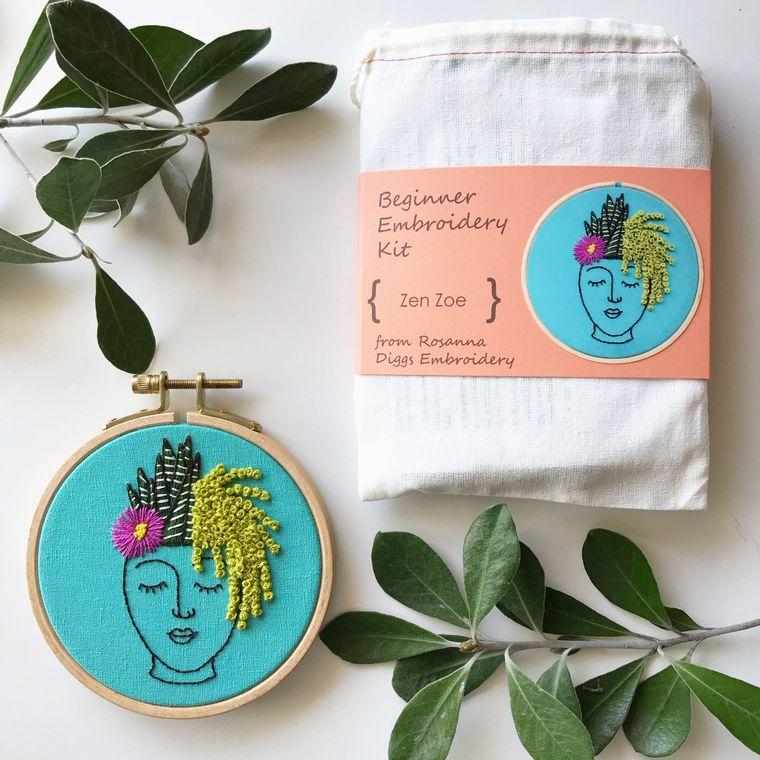 Embroidery Kit, Plant Lady DIY Hoop Art, Complete Kit - Fire + Mineral