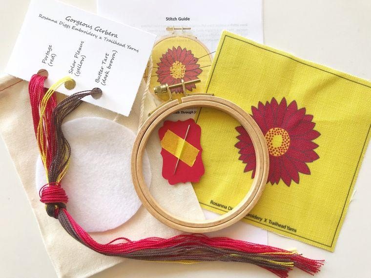 Hand Embroidery Kit, Gerbera Daisy, Complete Kit - Fire + Mineral
