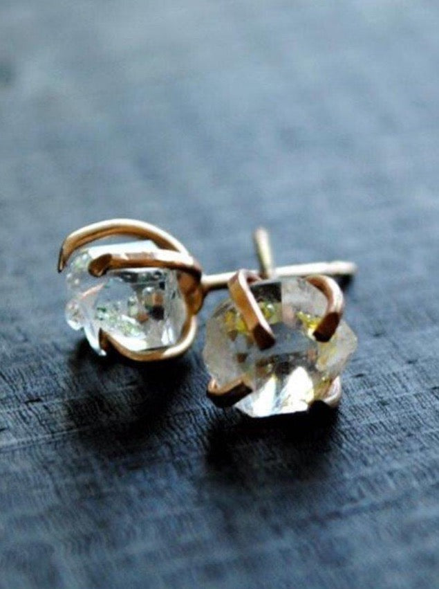 Herkimer Diamond Stud Earrings Silver and Gold - Fire + Mineral