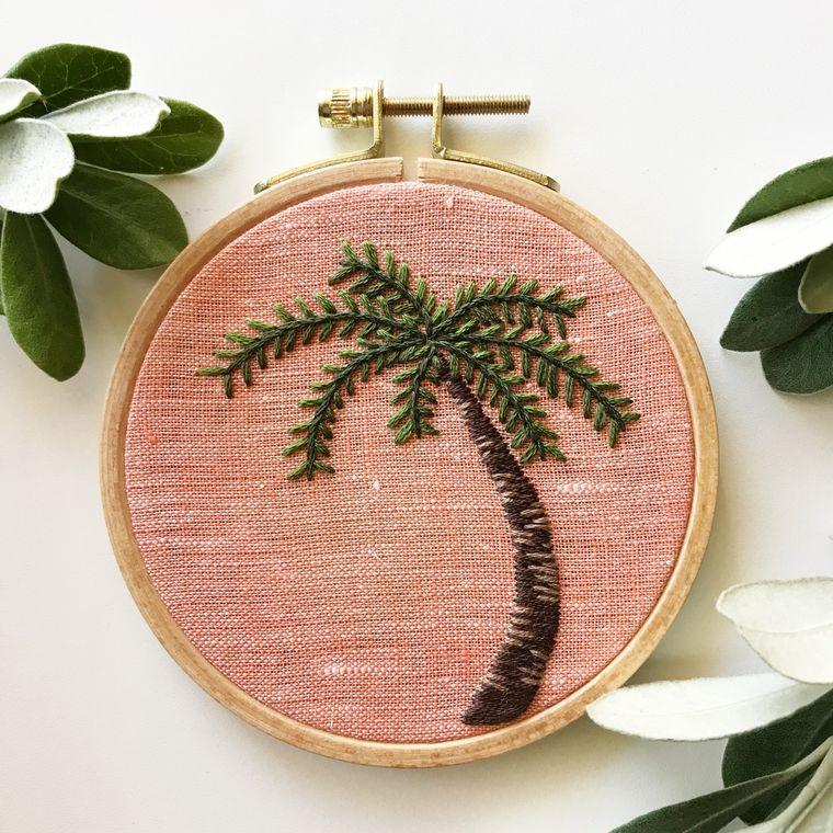Palm Tree DIY Embroidery Kit, Complete Kit for Beginners - Fire + Mineral